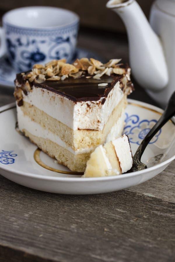 Γάλα του πουλιού κέικ με τη σοκολάτα και την καρύδα στοκ εικόνα με δικαίωμα ελεύθερης χρήσης