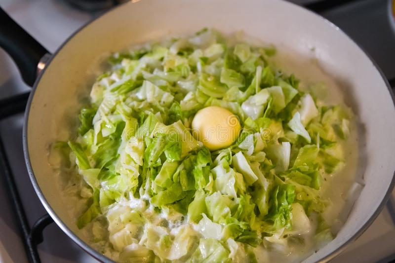 Γέμισμα πιτών - λάχανο αργού ψησίματος στο τηγάνισμα του τηγανιού σε μια σόμπα στοκ φωτογραφία με δικαίωμα ελεύθερης χρήσης