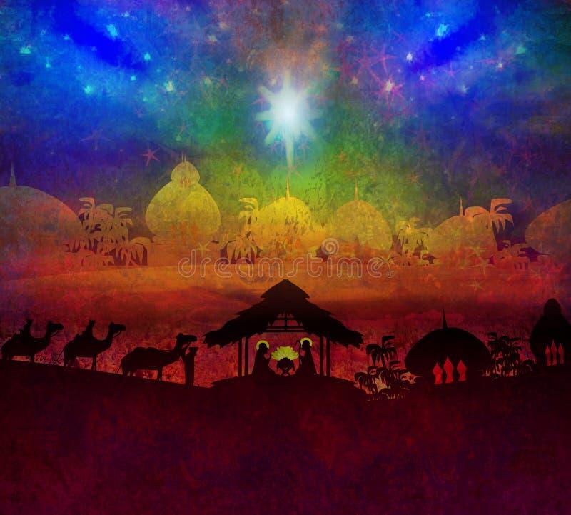 Γέννηση του Ιησού στη Βηθλεέμ. απεικόνιση αποθεμάτων
