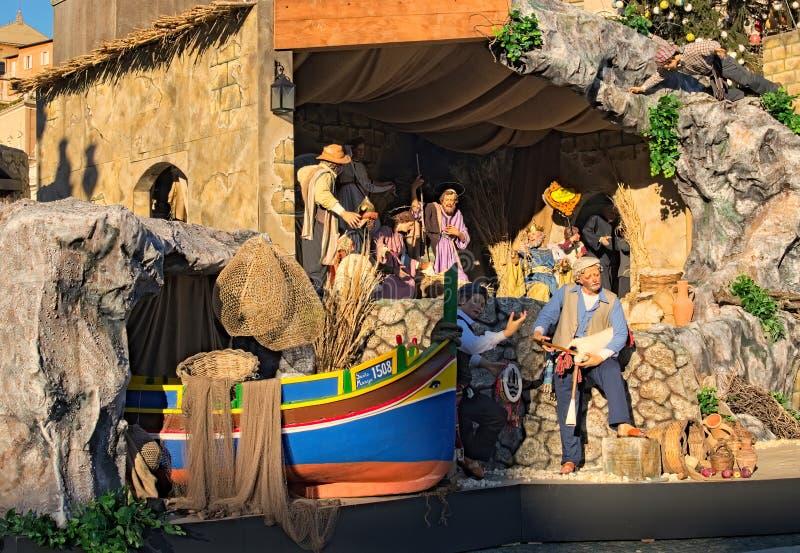 Γέννηση του Ιησού στη φάτνη σε ένα χαρακτηριστικό ιταλικό τετράγωνο ` Presepe ` ST Peter ` s Βατικανό, Ρώμη, Ιταλία στοκ φωτογραφίες