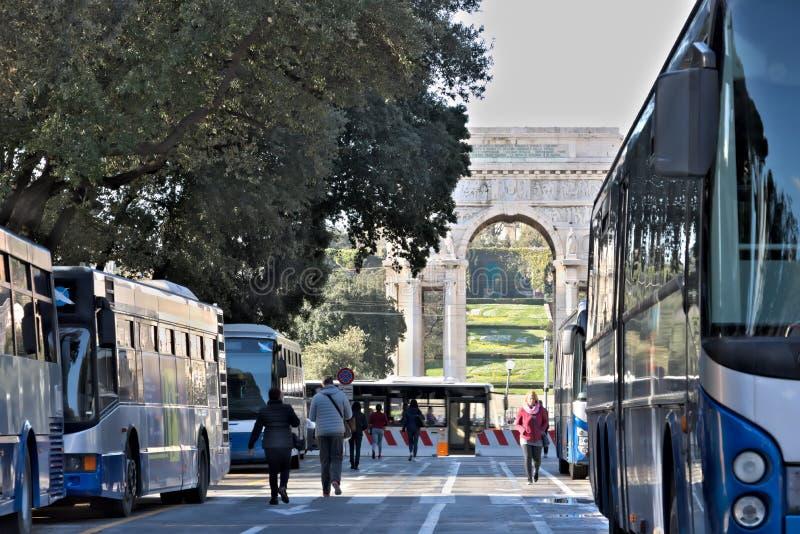Γένοβα, Ιταλία 04/05/2019 Στάση λεωφορείου στοκ εικόνες με δικαίωμα ελεύθερης χρήσης