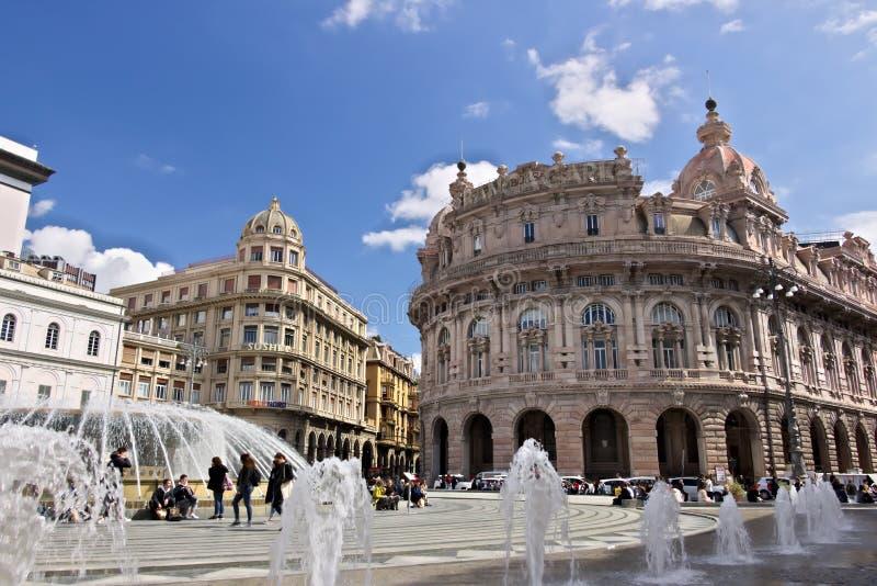 Γένοβα Πηγή Piazza de Ferrari στοκ εικόνα με δικαίωμα ελεύθερης χρήσης