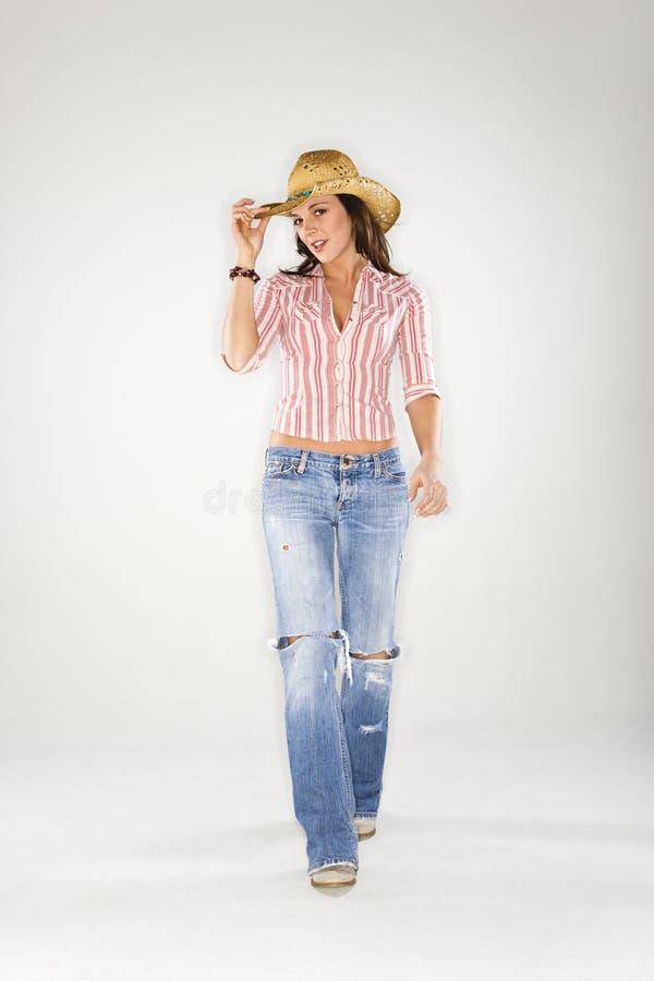 γέρνοντας γυναίκα καπέλων κάουμποϋ στοκ φωτογραφίες με δικαίωμα ελεύθερης χρήσης