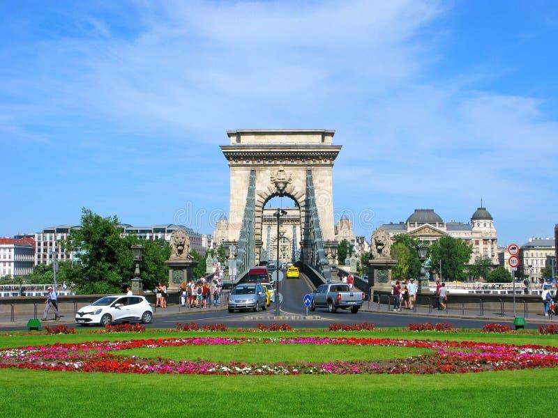 Γέφυρα αλυσίδων Széchenyi, Βουδαπέστη, Ουγγαρία στοκ εικόνα με δικαίωμα ελεύθερης χρήσης