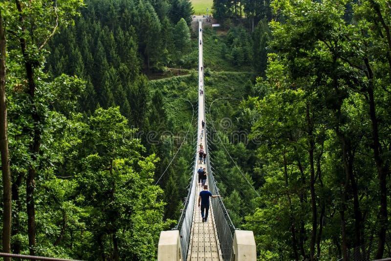 Γέφυρα αναστολής Geierlay, Moersdorf, Γερμανία στοκ φωτογραφία με δικαίωμα ελεύθερης χρήσης