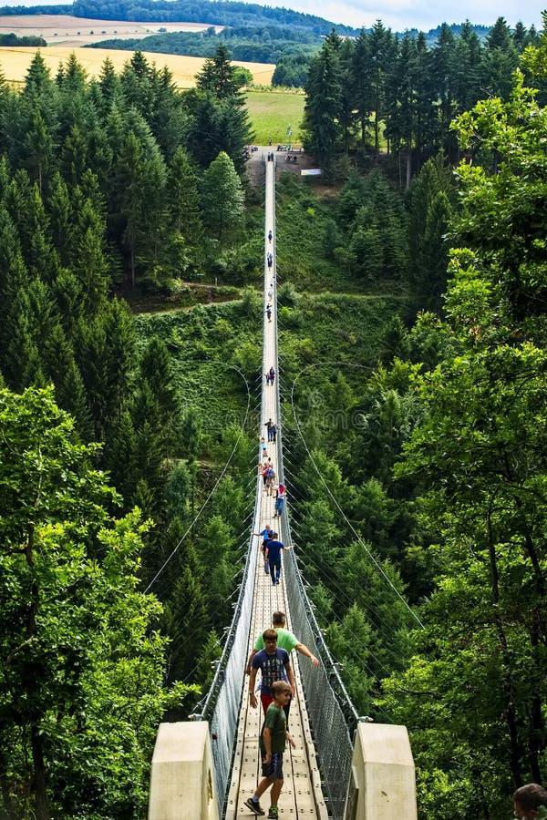 Γέφυρα αναστολής Geierlay, Moersdorf, Γερμανία στοκ εικόνες