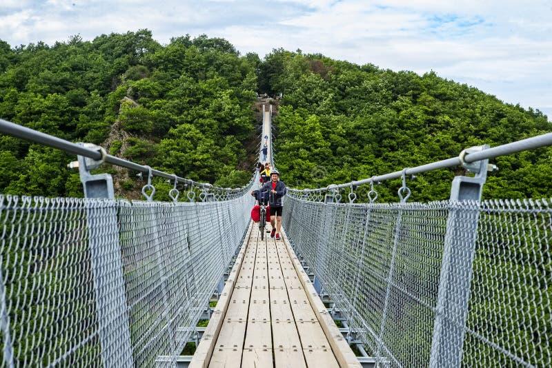 Γέφυρα αναστολής Geierlay, Moersdorf, Γερμανία στοκ φωτογραφίες