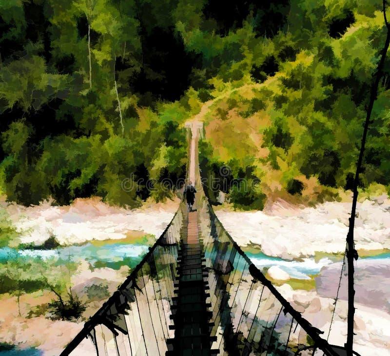 Γέφυρα αναστολής και ποταμός βουνών Επικίνδυνη ψηφιακή απεικόνιση πορειών οδοιπορίας ελεύθερη απεικόνιση δικαιώματος
