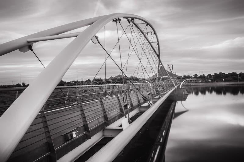Γέφυρα αναστολής πέρα από την πόλης λίμνη Tempe στοκ εικόνα