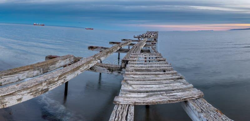 Γέφυρα αποβαθρών Loreto στους χώρους Punta, Χιλή στοκ εικόνα
