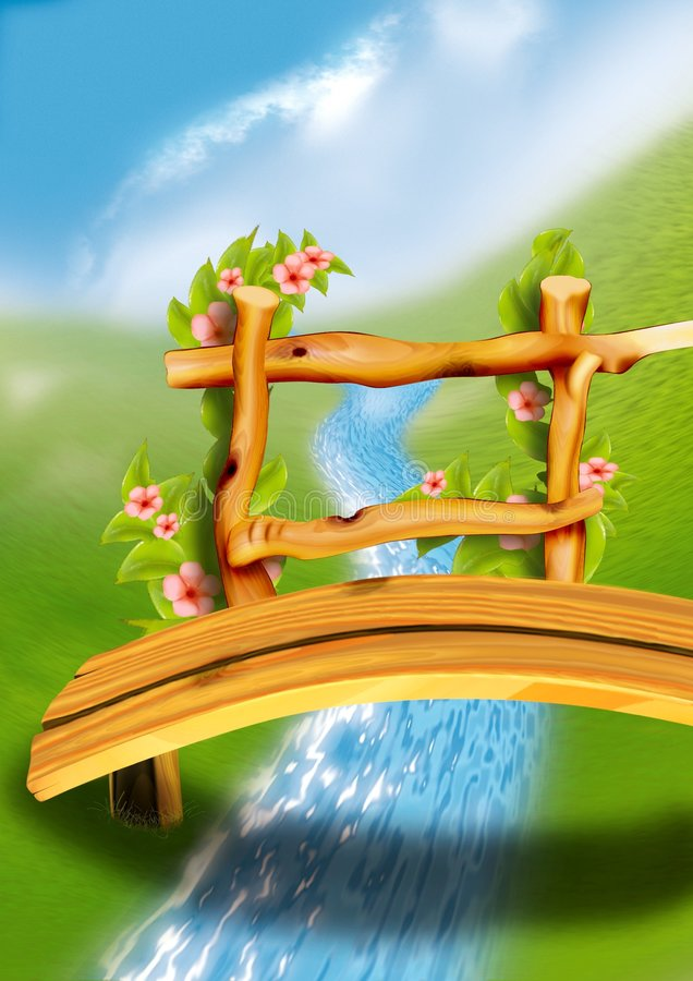 γέφυρα για πεζούς ξύλινη ελεύθερη απεικόνιση δικαιώματος
