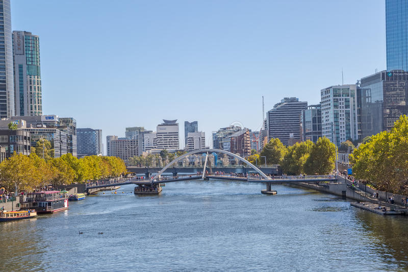 Γέφυρα για πεζούς της Μελβούρνης Southbank στοκ εικόνες