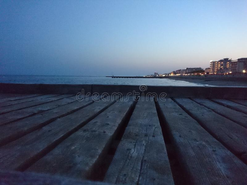 Γέφυρα για πεζούς Lido Di Jesolo Beach στοκ εικόνα
