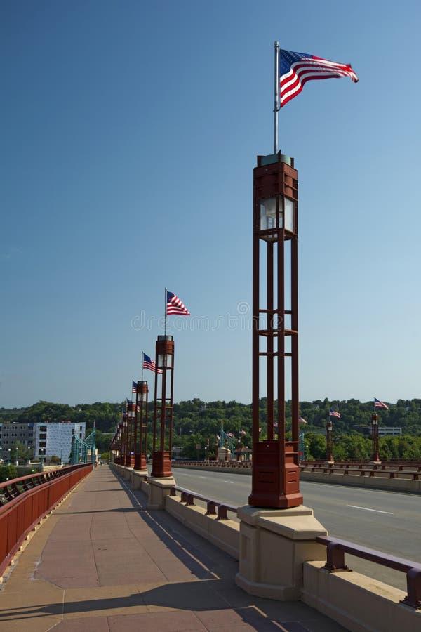Γέφυρα ελευθερίας του ST Wabasha, Saint-Paul, Μινεσότα στοκ εικόνες με δικαίωμα ελεύθερης χρήσης