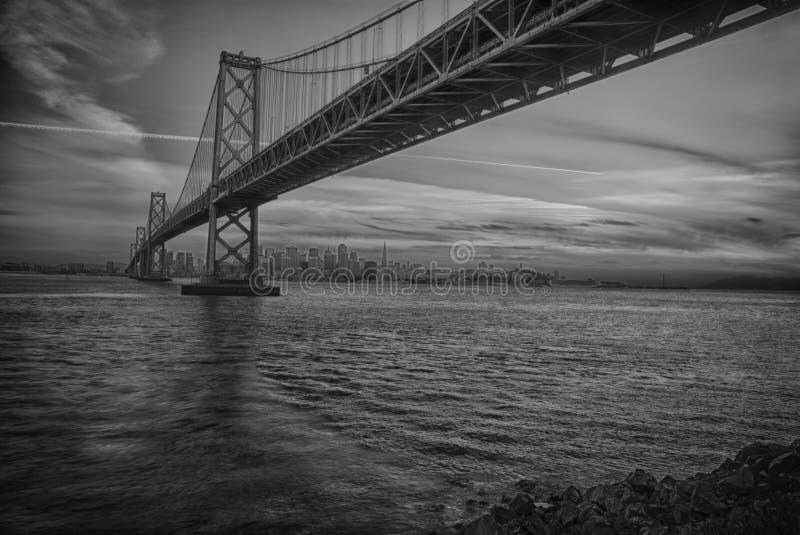 Γέφυρα και ορίζοντας κόλπων του Σαν Φρανσίσκο στο ηλιοβασίλεμα στοκ εικόνα