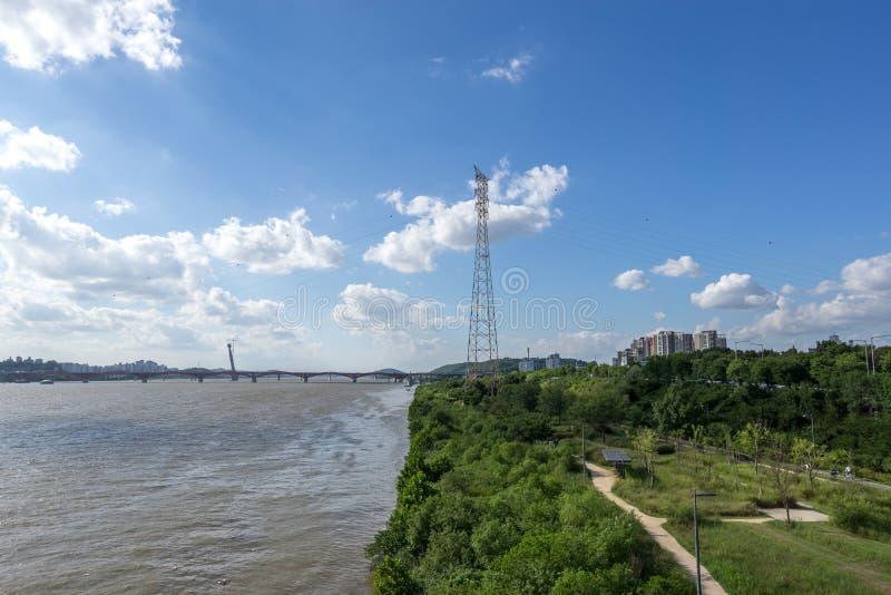 Γέφυρα και han ποταμός Seongsan στοκ φωτογραφία με δικαίωμα ελεύθερης χρήσης