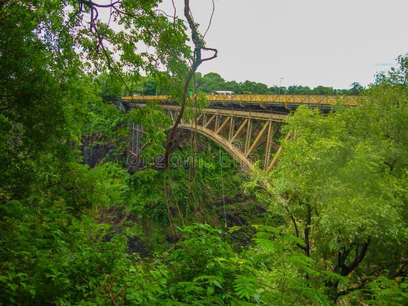 Γέφυρα κατά τη διάρκεια του Victoria Falls στοκ εικόνες με δικαίωμα ελεύθερης χρήσης