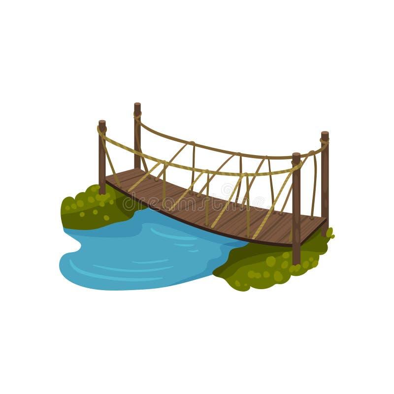 Γέφυρα ξυλείας με τα κιγκλιδώματα σχοινιών Μικρή ξύλινη γέφυρα για πεζούς πέρα από τον μπλε ποταμό Στοιχείο τοπίων κινούμενων σχε απεικόνιση αποθεμάτων