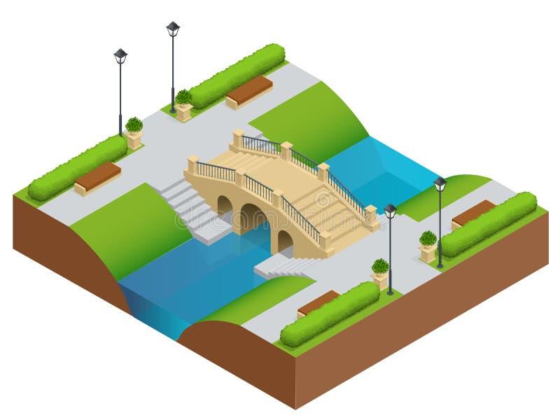 γέφυρα πέρα από την πέτρα ποταμών Ρομαντική πέτρα γεφυρών στο πάρκο Επίπεδο διανυσματικό τοπίο με μια εικόνα της φύσης Θέση για ελεύθερη απεικόνιση δικαιώματος