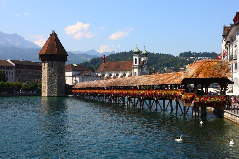 Γέφυρα παρεκκλησιών σε Λουκέρνη στοκ φωτογραφίες