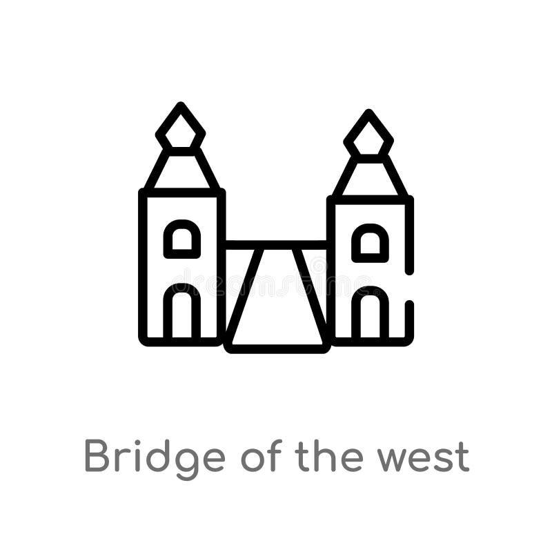 γέφυρα περιλήψεων του δυτικού διανυσματικού εικονιδίου απομονωμένη μαύρη απλή απεικόνιση στοιχείων γραμμών από την έννοια μνημείω ελεύθερη απεικόνιση δικαιώματος