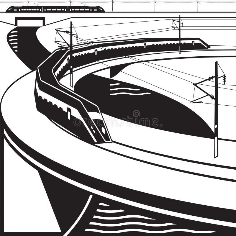 Γέφυρα ποταμών περασμάτων μεγάλων επιβατικών αμαξοστοιχιών διανυσματική απεικόνιση
