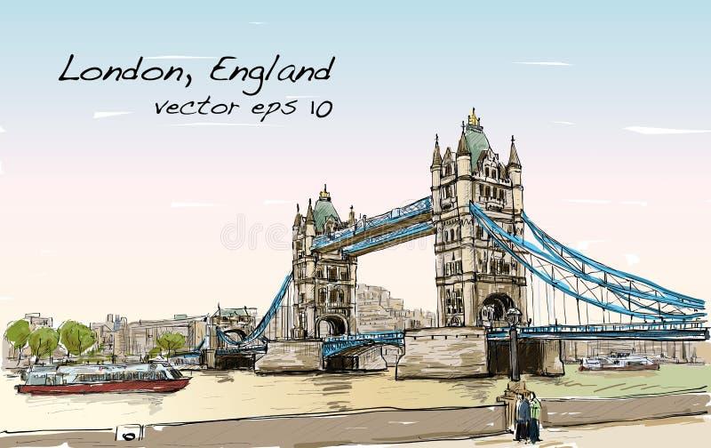 Γέφυρα πύργων σκίτσων σχεδίων εικονικής παράστασης πόλης, Λονδίνο, Αγγλία ελεύθερη απεικόνιση δικαιώματος