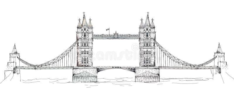 Γέφυρα πύργων στο Λονδίνο, συλλογή σκίτσων, πύλη παλατιών Buckingham διανυσματική απεικόνιση
