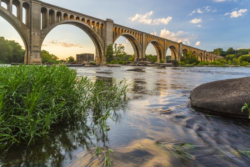 Γέφυρα σιδηροδρόμου του Ρίτσμοντ πέρα από τον ποταμό του James στοκ φωτογραφία με δικαίωμα ελεύθερης χρήσης