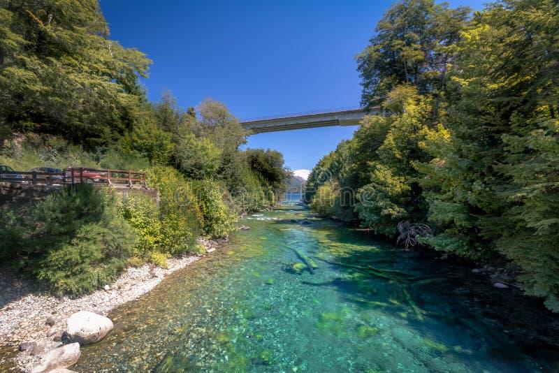 Γέφυρα στη λίμνη Correntoso - Λα Angostura, Παταγωνία, Αργεντινή βιλών στοκ εικόνα