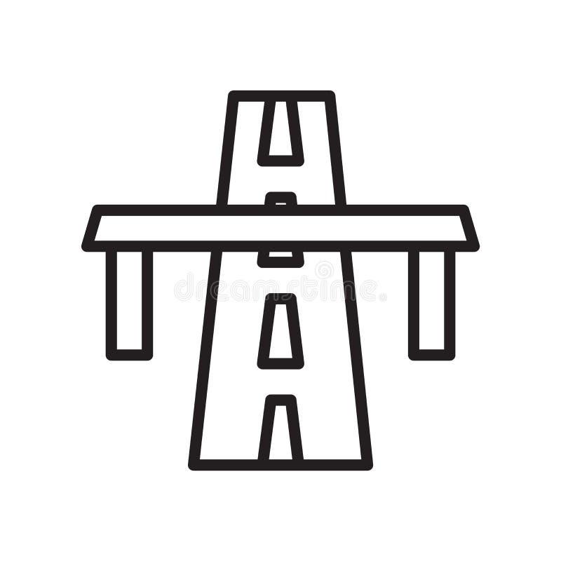 Γέφυρα στο διανυσματικό σημάδι εικονιδίων προοπτικής λεωφόρων και σύμβολο που απομονώνεται στο άσπρο υπόβαθρο, γέφυρα στην έννοια απεικόνιση αποθεμάτων
