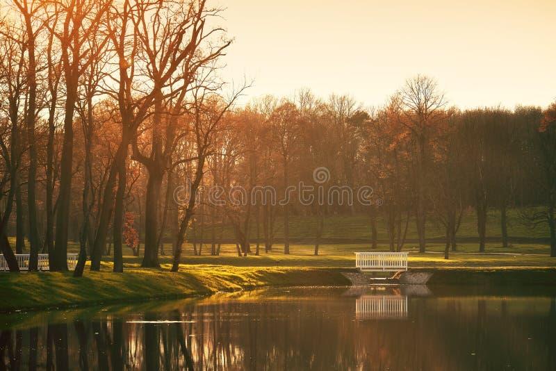 Γέφυρα στο πάρκο φθινοπώρου λιμνών στοκ φωτογραφίες