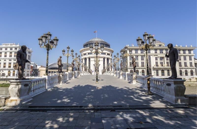 Γέφυρα τέχνης στα Σκόπια, Μακεδονία στοκ εικόνες με δικαίωμα ελεύθερης χρήσης