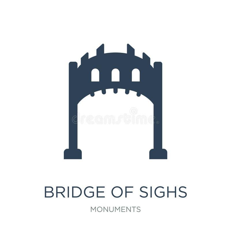 γέφυρα του εικονιδίου στεναγμών στο καθιερώνον τη μόδα ύφος σχεδίου γέφυρα του εικονιδίου στεναγμών που απομονώνεται στο άσπρο υπ ελεύθερη απεικόνιση δικαιώματος