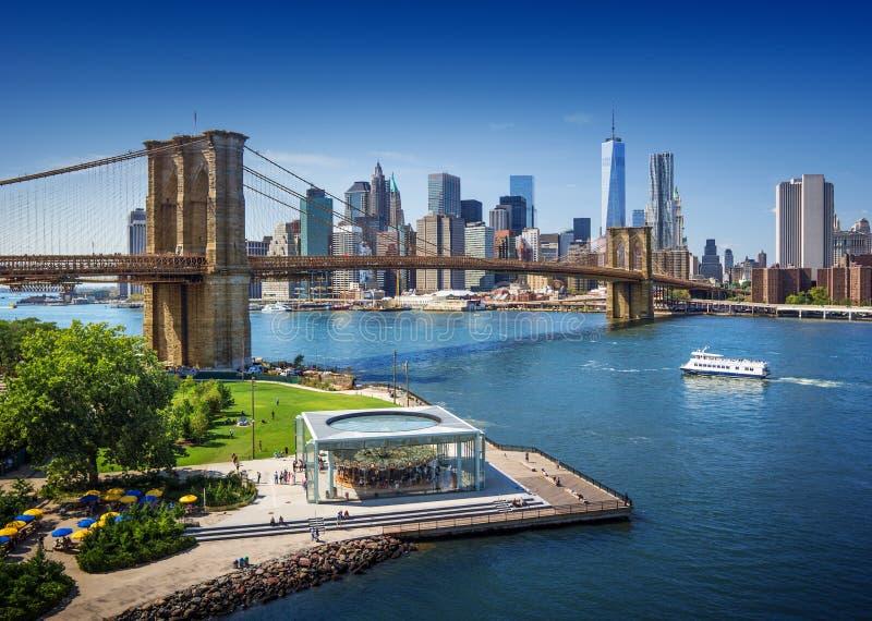 Γέφυρα του Μπρούκλιν στην πόλη της Νέας Υόρκης - εναέρια άποψη στοκ εικόνες