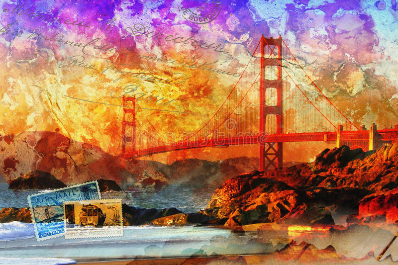 Γέφυρα του Σαν Φρανσίσκο, ψηφιακή περίληψη τέχνης στοκ εικόνες