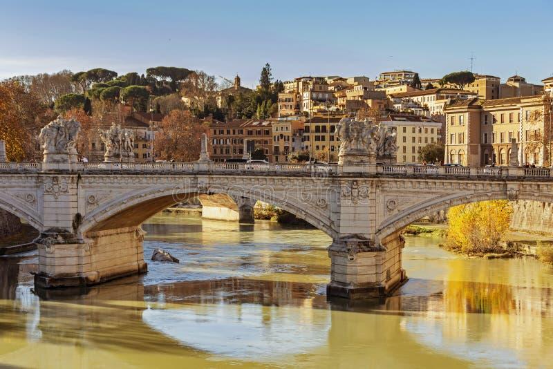Γέφυρα του Emanuele Vittorio στη Ρώμη στοκ φωτογραφία