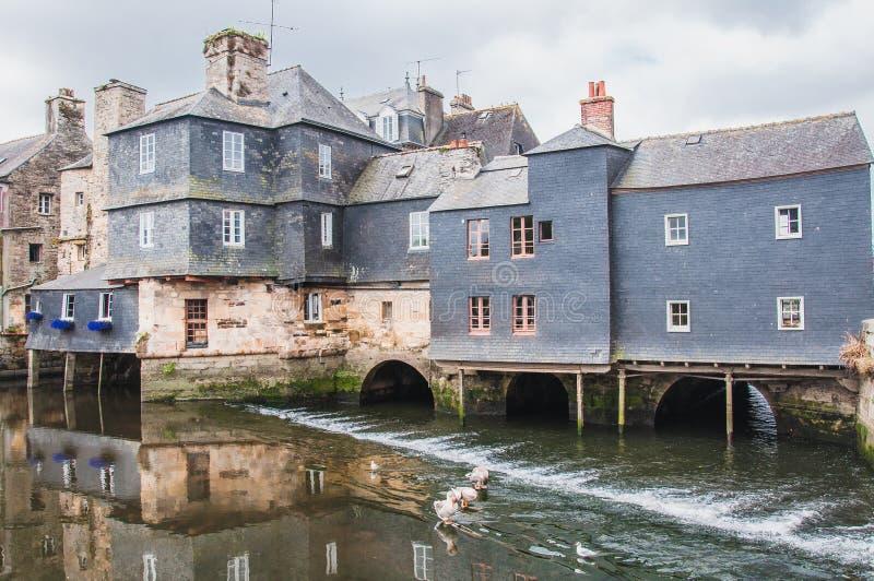 Γέφυρα του Rohan στο κέντρο πόλεων Landerneau σε Finistère στοκ εικόνες