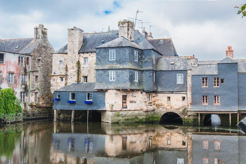 Γέφυρα του Rohan στο κέντρο πόλεων Landerneau στο Finistère στοκ εικόνες