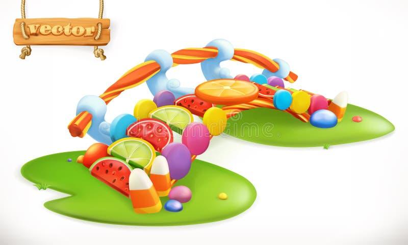 Γέφυρα των καραμελών Γλυκό έδαφος, διανυσματικό εικονίδιο καραμελών φρούτων διανυσματική απεικόνιση