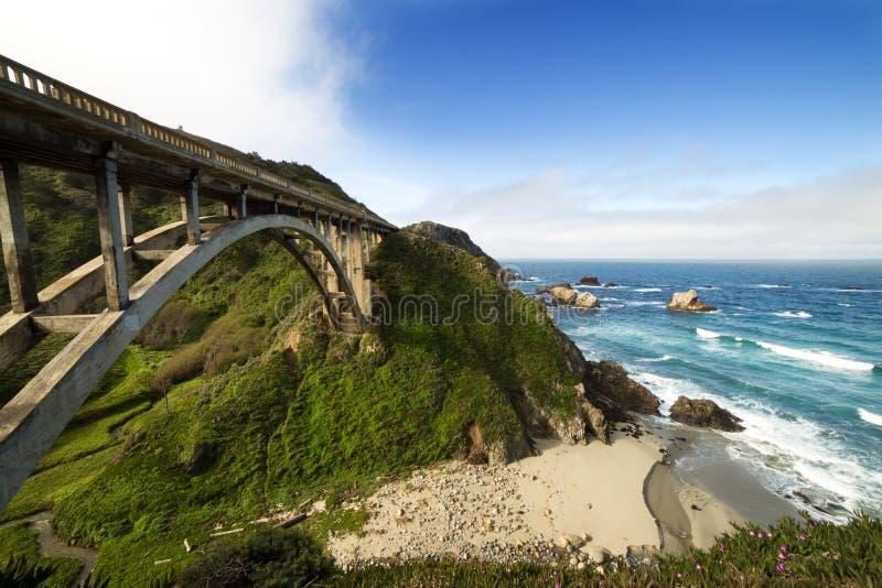 Γέφυρα Bixby στο Pacific Coast ως τμήμα του δρόμου αριθμός 1, Καλιφόρνια στοκ φωτογραφία με δικαίωμα ελεύθερης χρήσης
