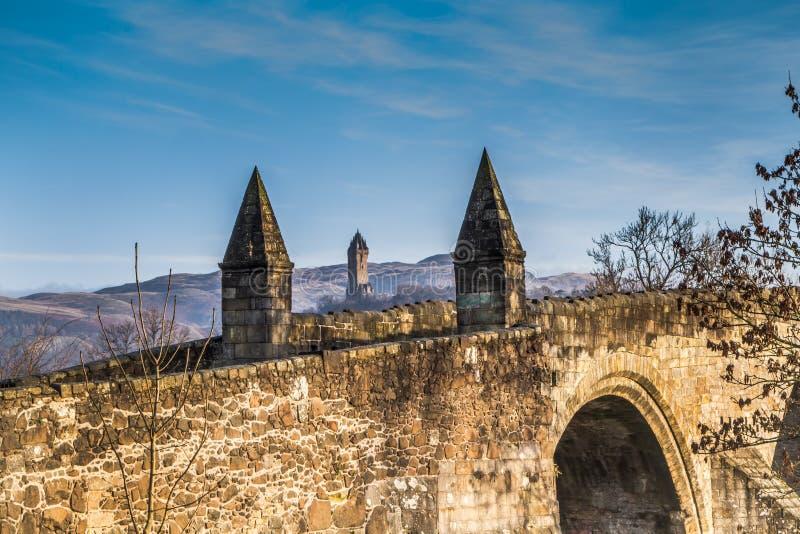 Γέφυρα Stirling και μνημείο Wallace στοκ εικόνα με δικαίωμα ελεύθερης χρήσης