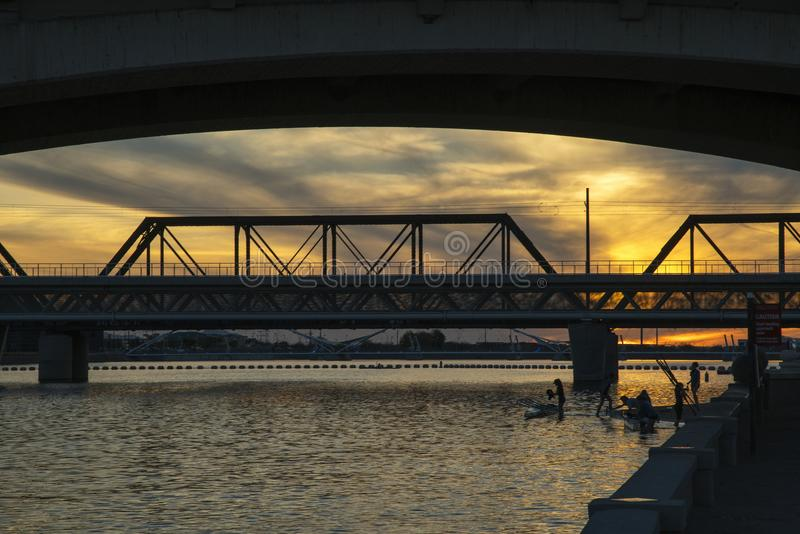 Γέφυρες οδών μετρό και μύλων στοκ φωτογραφία