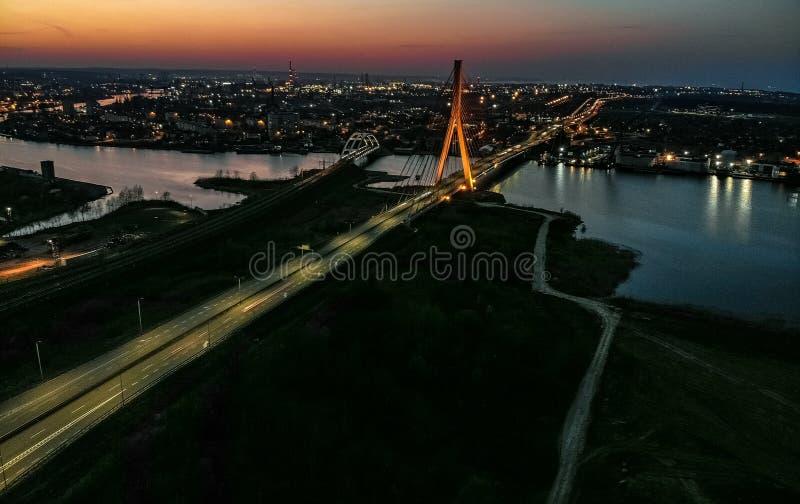 Γέφυρες του Γντανσκ στο βράδυ στοκ φωτογραφία
