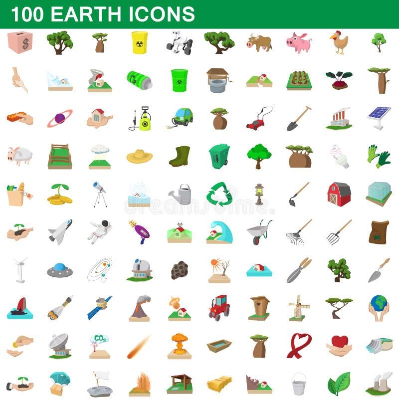 100 γήινα εικονίδια καθορισμένα, ύφος κινούμενων σχεδίων διανυσματική απεικόνιση