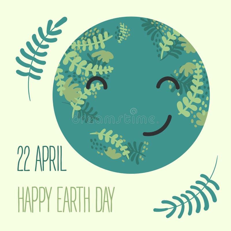 Γήινη απεικόνιση κινούμενων σχεδίων Χαμόγελο πλανητών το καφετί καλυμμένο γήινο περιβαλλοντικό φύλλωμα ημέρας πηγαίνει πηγαίνοντα διανυσματική απεικόνιση