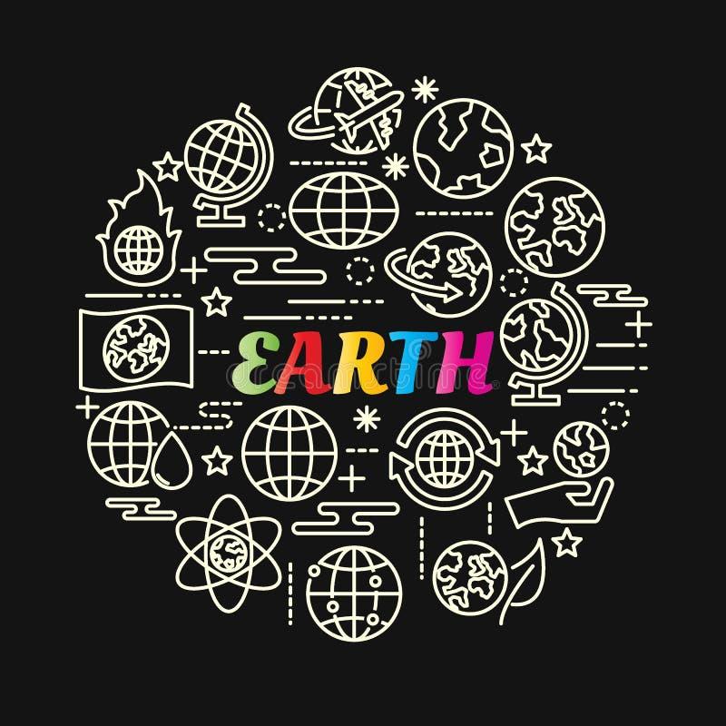 Γήινη ζωηρόχρωμη κλίση με τα εικονίδια γραμμών καθορισμένα απεικόνιση αποθεμάτων