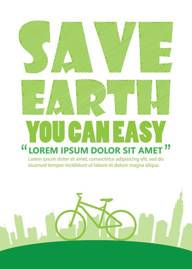 Γήινη ημέρα ποδηλάτων, τυπωμένη ύλη A4 ελεύθερη απεικόνιση δικαιώματος