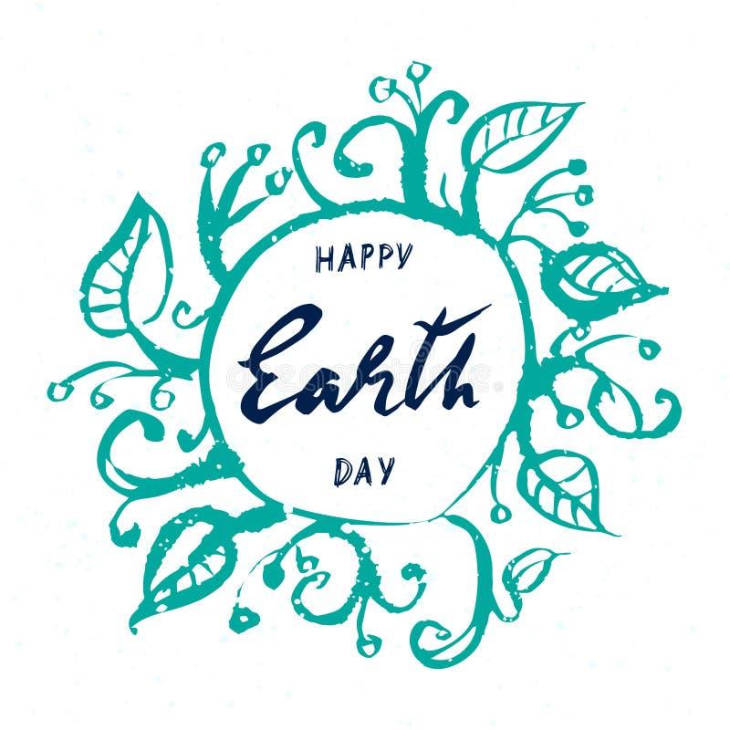 Γήινη ημέρα, συρμένη χέρι εγγραφή στο άσπρο υπόβαθρο διανυσματική απεικόνιση