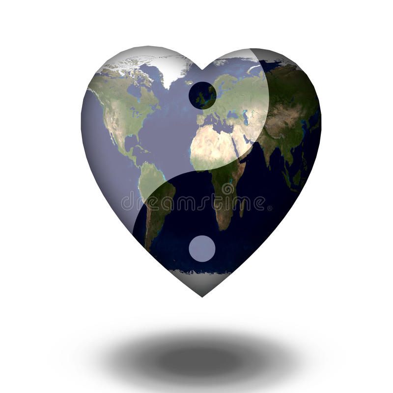 Γήινη καρδιά Yin Yang απεικόνιση αποθεμάτων